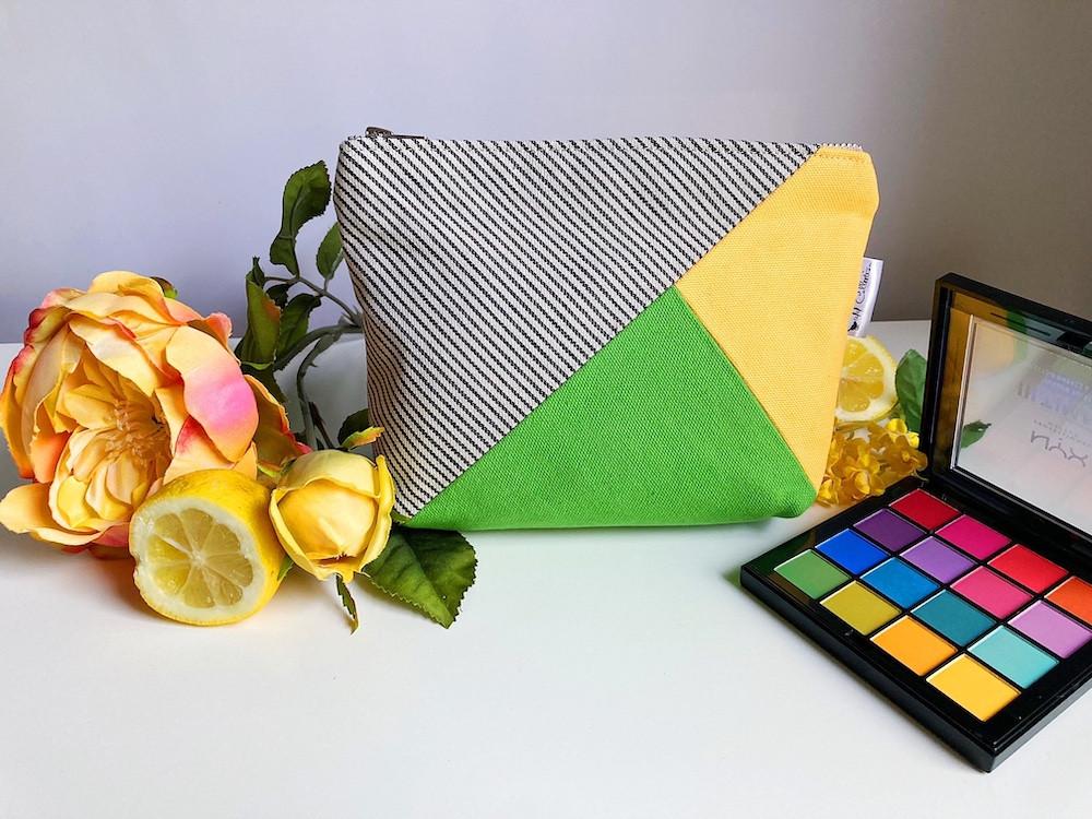 Handmade Makeup Bag - Green and Yellow Canvas