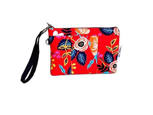 red floral wristlet purse