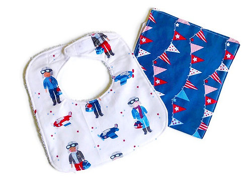 handmade baby bibs and burp cloths - Flight Print Bib