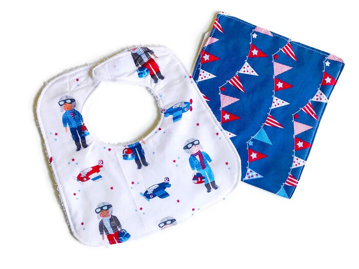 Handmade Baby Bibs and Burp Cloths - Pilots and Airplanes Print