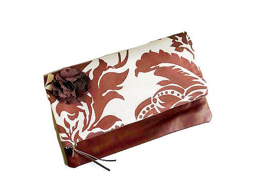 Leather Fold Over Clutch Bag - Brown