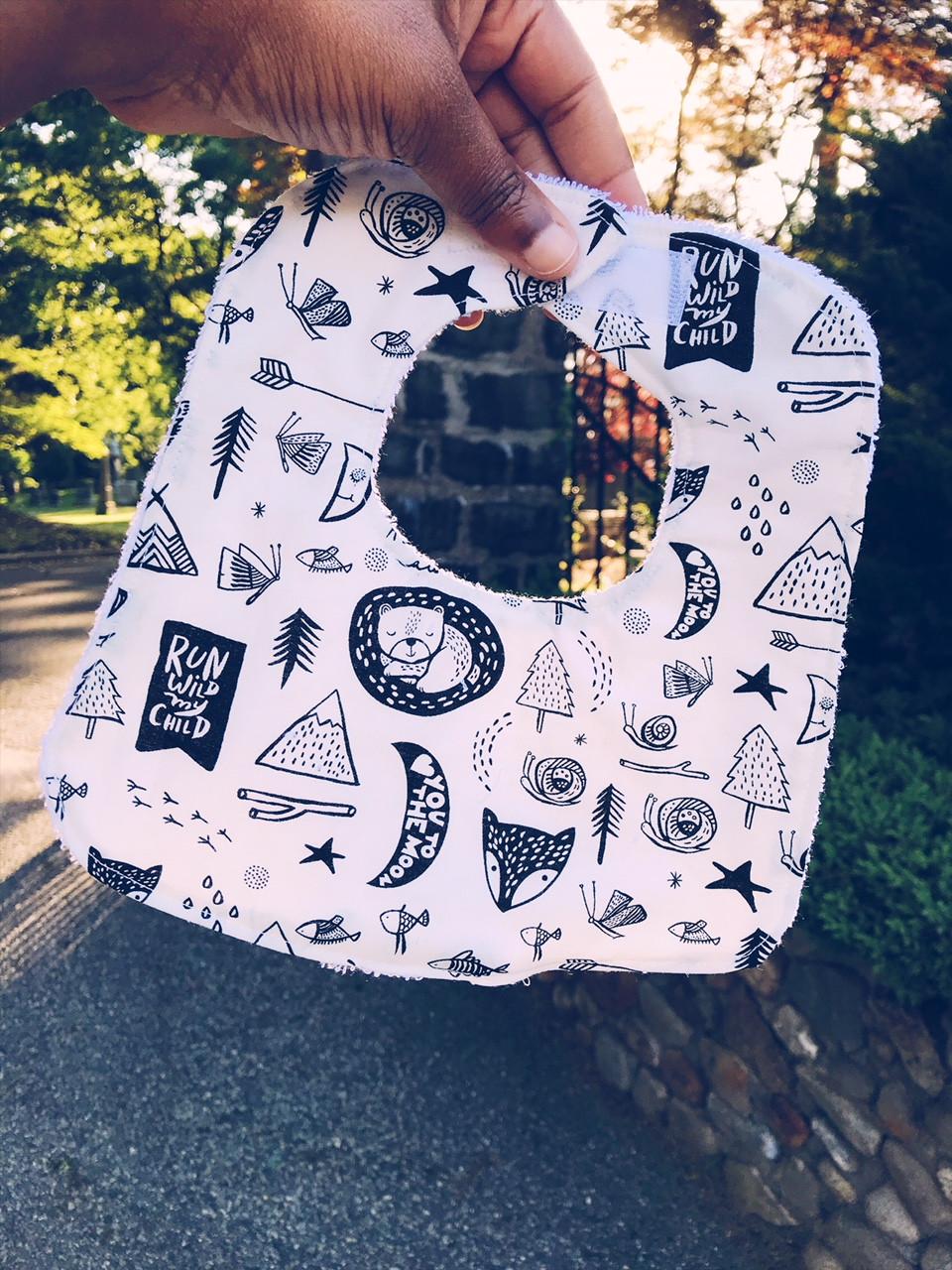Handmade Baby Bibs and Burp Cloths - Forest Print Bib