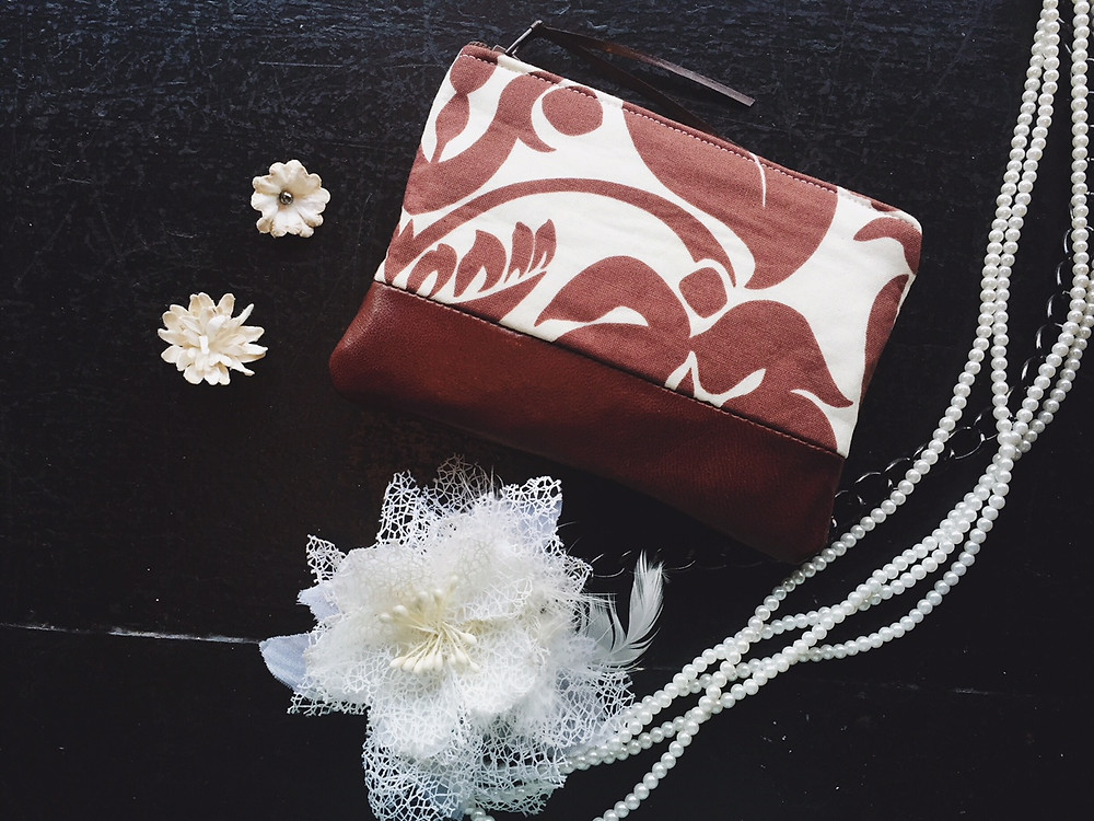 Leather Coin Purse - Brown and White Floral Print