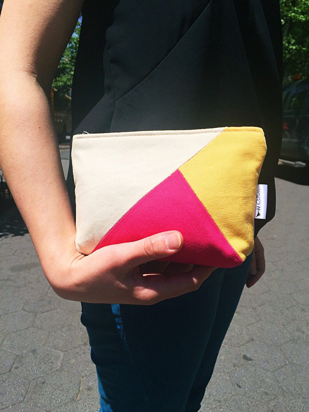 Color Block Handbag - natural, yellow and pink canvas