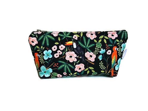 Handmade Makeup Bag - Black Makeup Bag - Floral Print