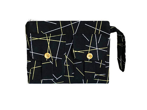 Wristlet Wallet - Black Metallic Gold Sticks - Black Wallet - Handmade