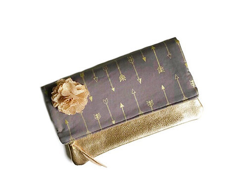 Gold Leather Fold Over Clutch - Arrow Print