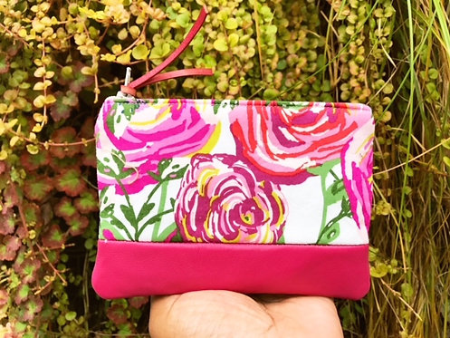 Coin Pouch Leather - Pink Floral Print