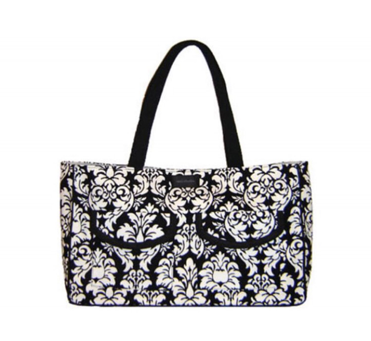Handmade Bags, Baby Bibs and Accessories - Meet 144 Collection - Black Damask Shoulder Bag