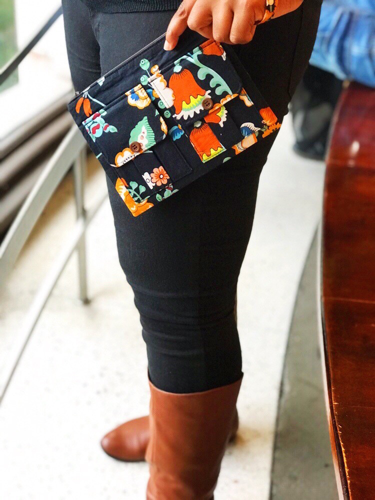 wristlet purse - black floral print