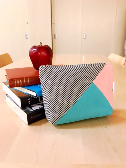 Off to College Gifts - Aqua and Pink Canvas Zipper Pouch