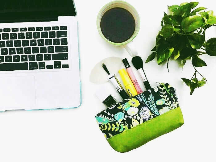 Handmade Makeup Bag - Grey and Green Floral Print