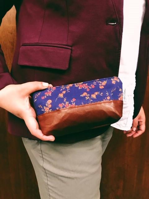 womens leather makeup bag - blue floral print