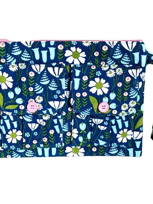 Floral Blue Corduroy Wallet Wristlet