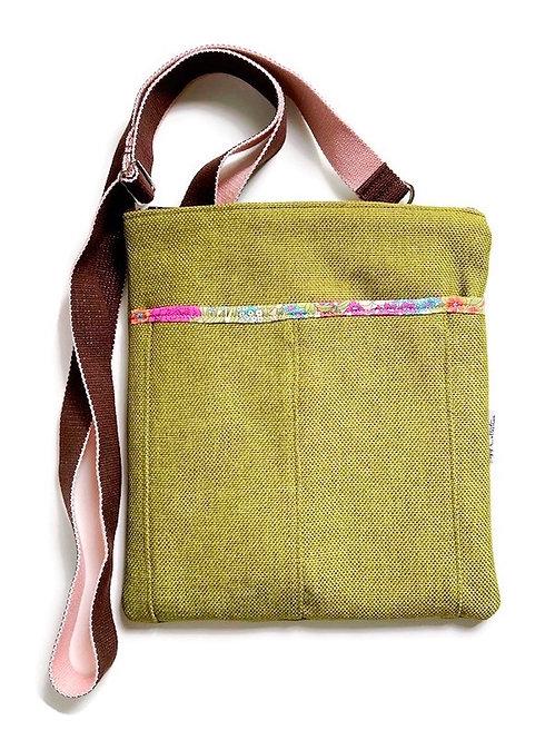 zinnia flower green crossbody bag