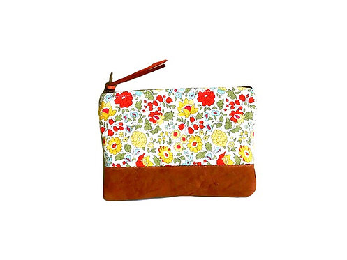 Women's Coin Purse - Daylily Brown Leather Coin Pouch