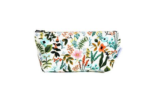 Handmade Makeup Bag - Garden Floral Print - Cosmetic Bag