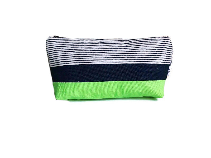 Canvas Zipper Pouch - Striped Blue and Green