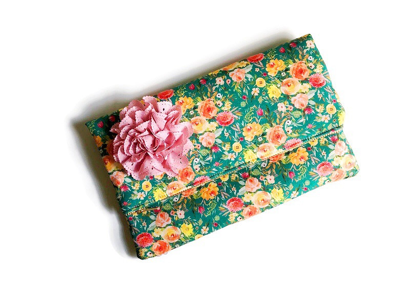 Foldover Clutch Bag - yellow and green floral print