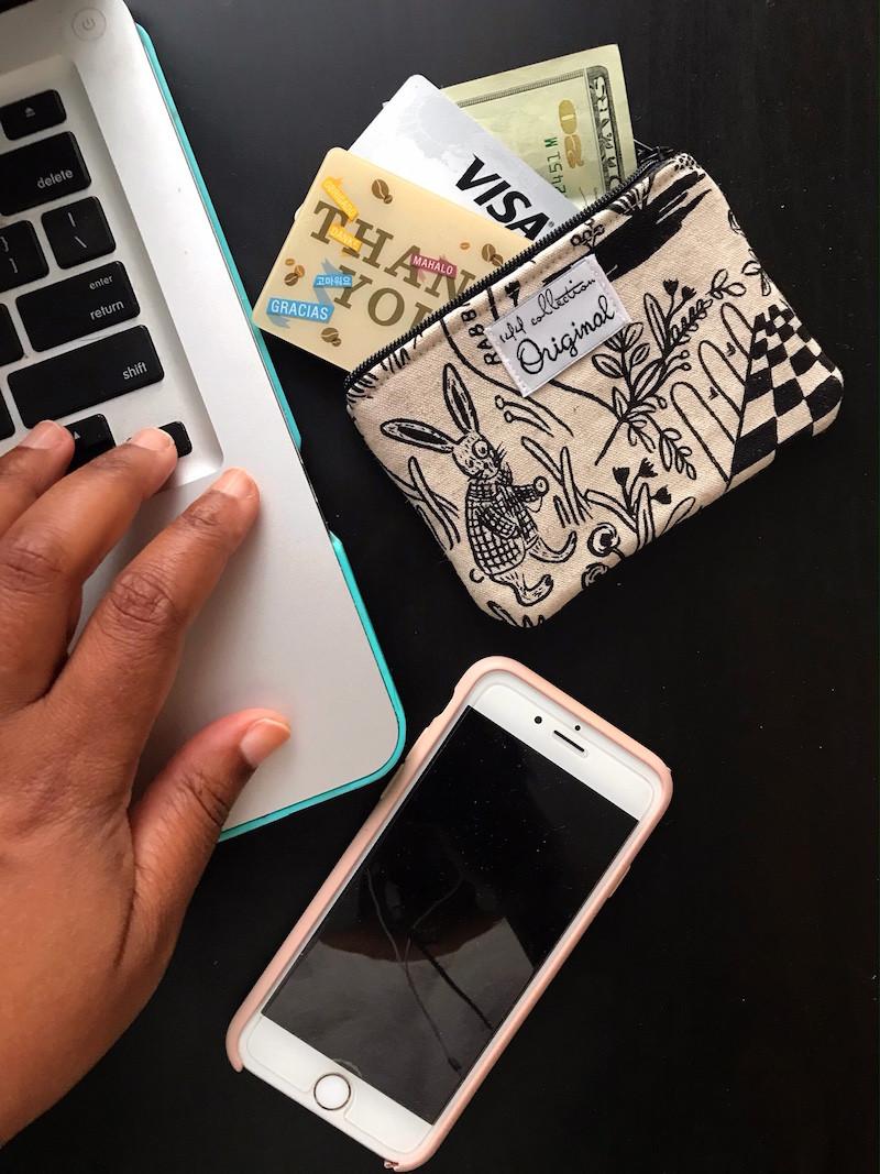 zipper coin purse - rabbit print