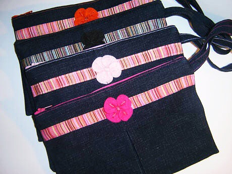 Handmade Bags, Baby Bibs and Accessories - Meet 144 Collection - denim wristlets