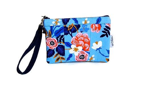 blue floral print wristlet bag
