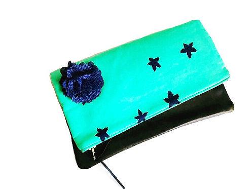 Leather Clutch Bag - Blue Star Print - Handmade Clutch
