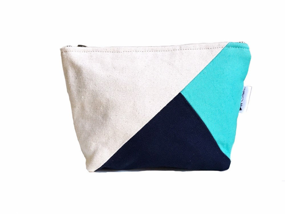 Color Block Bag - aqua and navy blue canvas