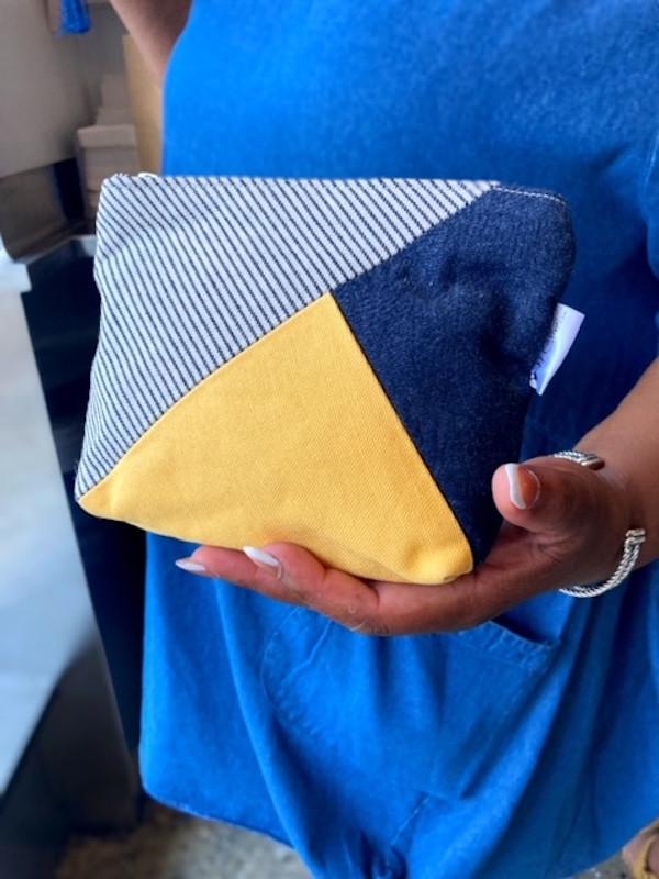 denim purse- blue and yellow