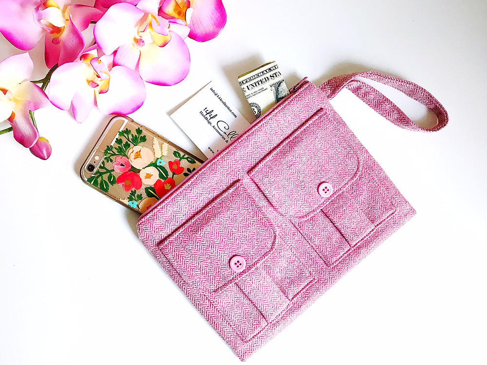 Handbags Made in the USA - pink wristlet