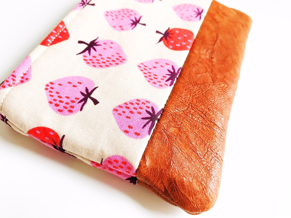 Coin Purse - Strawberry Print Brown Leather