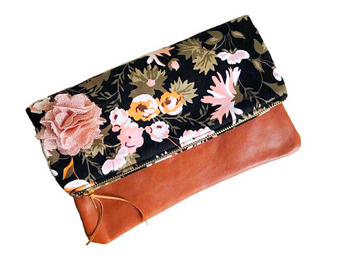 Floral Black Foldover Leather Clutch