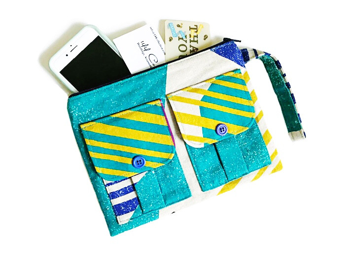 Handmade Wristlet - Turquoise and Yellow Print