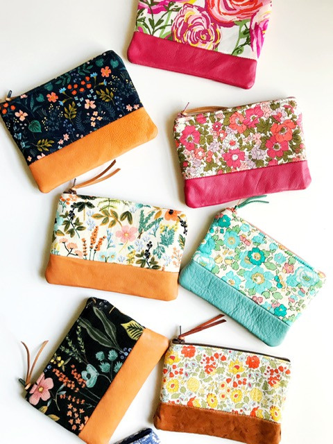 leather change purses - floral print