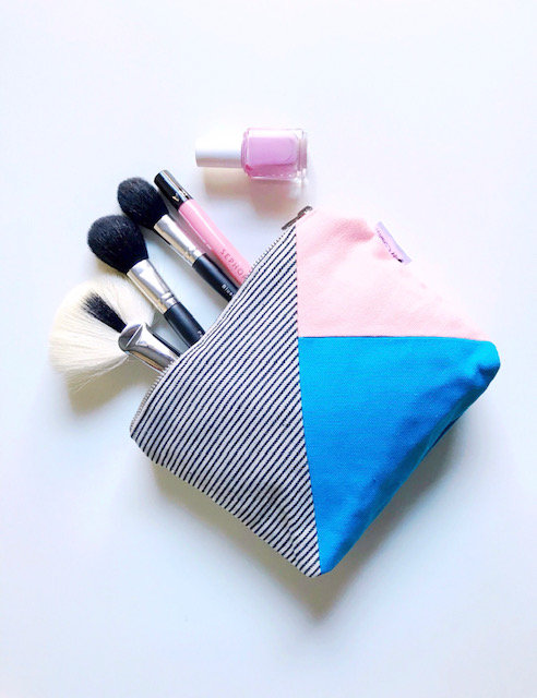 Canvas Cosmetic Bag Pink and Turquoise