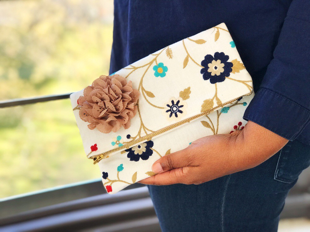Foldover Clutch Bag - embroidered flowers
