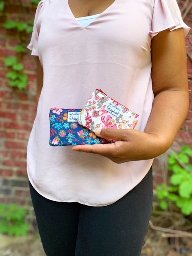coin purse wallet - white and red floral print