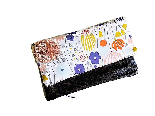 fold over leather clutch bag - ivory meadow floral print clutch purse - handmade bag