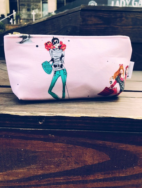 Makeup Bags Made in the USA - Cool Girls in Pink Makeup Bag