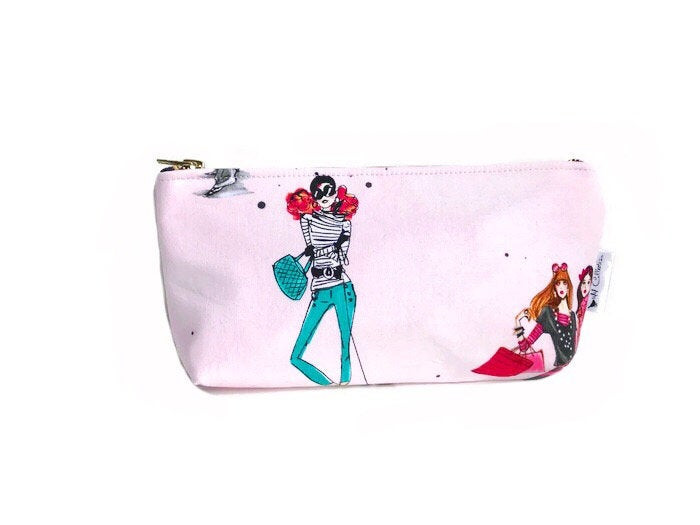 Galentines Day Gifts - fashion girl illustration makeup bag
