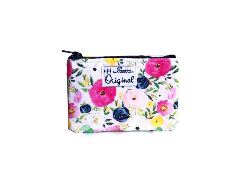 Mini Coin Purse - Pink and Blue Floral Print