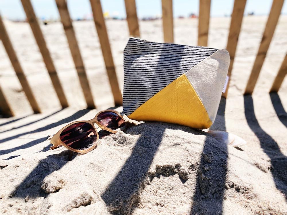 canvas pouch -striped beach bag yellow