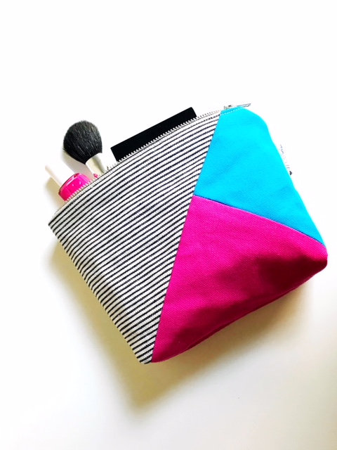 Canvas Cosmetic Bag - Fuchsia, Turquoise and Striped Blue