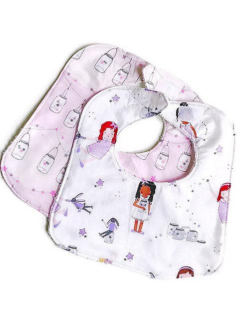 Baby Bib Set - Handmade Baby Bibs -  Fairy Print
