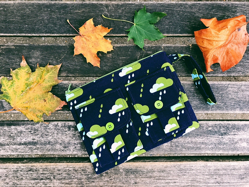 Wristlet Bag - Blue and Green Rain Droplets Print
