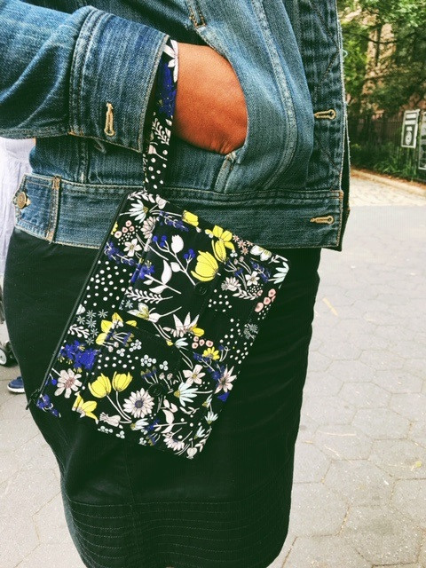 Floral Black iPhone Wallet Wristlet