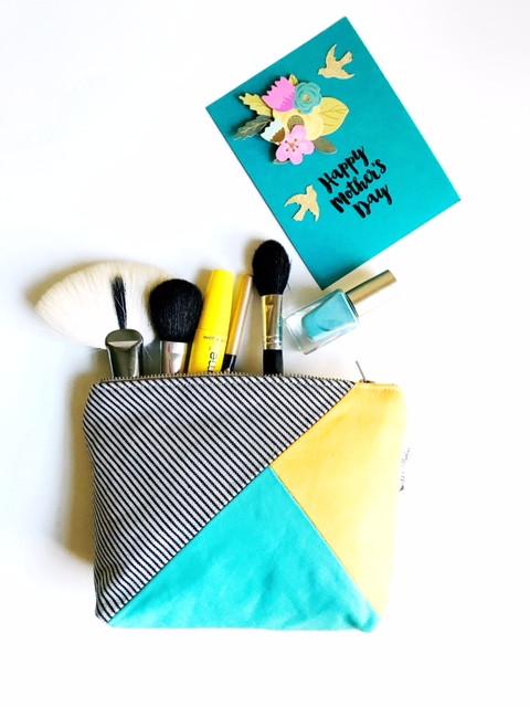 Handmade Makeup Bag - Aqua, Yellow and Striped Blue Canvas