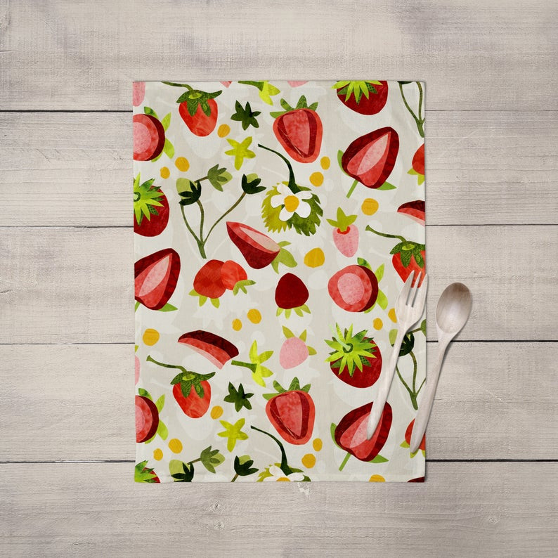 Strawberry Print Gifts - Tea Towel