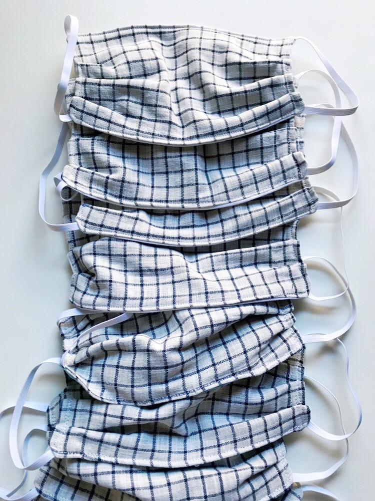 Striped Blue Fabric Face Masks