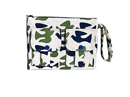 Bird Print Wristlet Wallet
